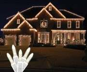 Standard Grade M5 Warm White Icicle LED Light Set on White Wire