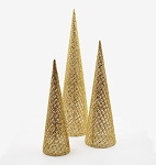 Gold Mesh Cone Tree 3 Pack