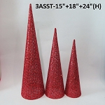 Red Mesh Cone Tree 3 Pack