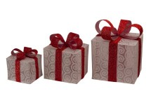 3 Piece Lighted White Gift Box Set with Red Ribbon and Bow