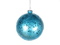 Aqua Ball Ornament with Aqua Glitter Design 120MM
