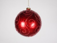 Red Ball 140mm Ornament with Red Glitter Design