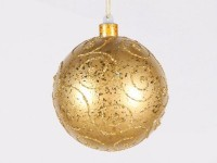 Gold Ball 200mm Ornament with Gold Glitter Design