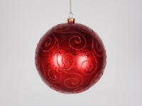 Red Ball 200mm Ornament with Red Glitter Design