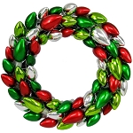 2' Red, Green, and Silver Light Bulb Wreath