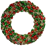 4' Red, Green and Silver Light Bulb Wreath