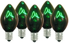 Incandescent Green C7 Dimmable Bulbs E12 Base