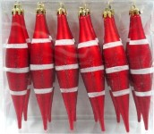 12PK Red and White Finial Ornament with line design