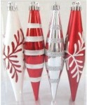 Finial Red and White Ornament with snowflake and line glitter design