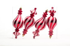 Red and White 4pk Finial Candy Ornament Set