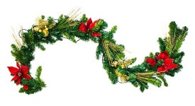 Poinsettia Christmas 6' Garland with Warm White Lights