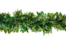 9' Pine Blended Garland Pre-Lit with Pure White LEDs