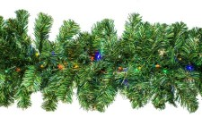 9' Pine Garland with Multi Colored LED Lights