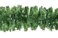 9' Pine Garland with Pure White LED Lights
