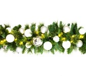 9' Sequoia Iceland Decorated Garland Pre-Lit with Warm White LEDs