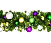9' Sequoia Mardi Gras Decorated Garland Pre-Lit with Warm White LEDs