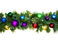9' Sequoia Royal Decorated Garland Pre-Lit with Warm White LEDs