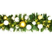 Pre-Lit Warm White LED 9' Sequoia Garland with the Treasure Collection