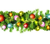 9' Sequoia Garland Pre-Lit with Warm White LEDs Decorated with the Tropical Collection