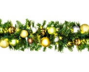 9' Pre-Lit Warm White LED Sequoia Garland Decorated with the Woodland Ornament Collection