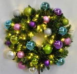 3' Blended Pine Wreath Decorated with the Victorian Ornament Collection Pre-Lit Warm White LEDS