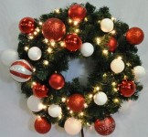 Blended Pine 4' Wreath Decorated with The Candy Ornament Collection Pre-Lit with Warm White LEDs
