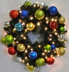 Blended Pine 4' Wreath Decorated with The Fiesta Ornament Collection Pre-Lit with Warm White LEDs