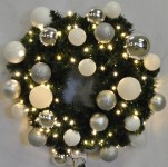Blended Pine 4' Wreath Decorated with The Iceland Ornament Collection Pre-Lit with Warm White LEDs
