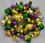 Blended Pine 4' Wreath Decorated with The Mardi Gras Ornament Collection Pre-Lit with Warm White LEDs