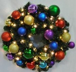 Blended Pine 5' Wreath Decorated with Royal Ornament Collection Pre-Lit with Warm White LEDs