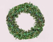 Blended Pine 6' Wreath Pre-Lit with Multi Colored LEDS