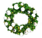 Sequoia 2' Wreath Decorated with The Iceland Collection and Pre-Lit Warm White LEDs