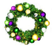 Sequoia 2' Wreath Decorated with The Mardi Gras Collection Pre-Lit Warm White LEDs