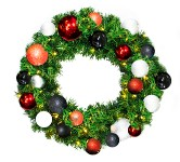 2' Sequoia Pre-Lit Wreath Decorated with the Modern Ornament Collection