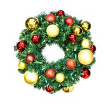 Sequoia 2' Wreath Decorated with The Red and Gold Ornament Collection Pre-Lit Warm White LEDs