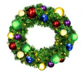 Sequoia 2' Wreath Decorated with The Royal Ornament Collection Pre-Lit Warm White LEDs