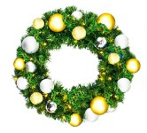 Pre-Lit 4' Sequoia Wreath Warm White LEDs Decorated with Treasure  Collection