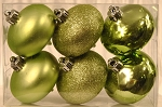 6 Pack Sage Green Shatterproof Onion Ornaments