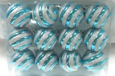 12pk Aqua Ball Ornament with Silver Line