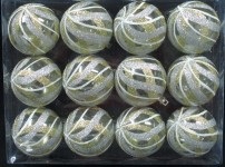 12pk Clear Ball Ornament with Gold, Silver with White Swirls