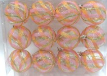12pk Clear Ball Ornament with Mardi Gras Swirls