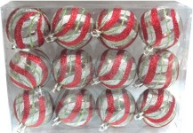 12pk Clear Ball Ornament with Red, Silver, with Gold Swirls