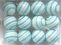 12 Pack Aqua and White Ball Ornament with Line Design