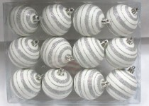 12 Pack Silver and White Ball Ornament with Line Design