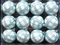 12pk White Ball Ornament with Aqua and Silver Plaid Design
