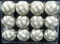 12pk White Ball Ornament with Gold and Silver Plaid Design