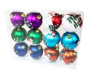 12pk Assorted Color Ball Ornament with Snowman Design