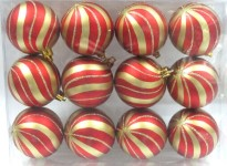 12pk Red Ball Ornament with Gold sprial