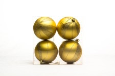 4 Pack Gold Ball Ornament with Spiral Design