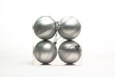 4 Pack Silver Ball Ornament with Spiral Design